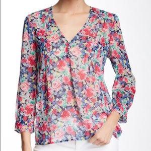 JOIE Leala silk multi colored floral blouse
